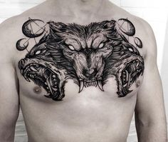 A badass person is defined as someone who is tough, intimidating and uncompromising. These are also qualities that most macho men would love to possess. As such badass tattoos for men are one of the… Wolf Tattoos, Feather Tattoos, Animal Tattoos, Black Tattoos, Body Art Tattoos, Sleeve Tattoos, Lion Tattoo, Chest Tattoo Wolf, Cool Chest Tattoos