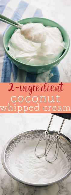 This Coconut Whipped Cream is so easy to make you'll want to make it right now. It's just two ingredients, is completely vegan and a great whipped cream alternative! via jessicainthekitch...
