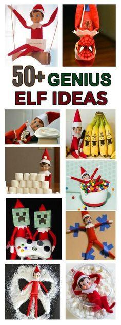 GENIUS ELF IDEAS FOR KIDS (this list now features over 100 awesome ideas- pin!!)  #elfontheshelfideas #christmas #kids #elfontheshelf