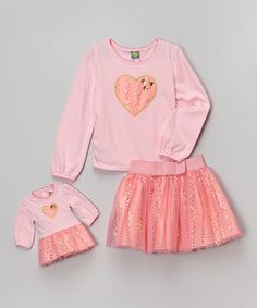 Look what I found on #zulily! Pink Sequin Heart Skirt Set & Doll Outfit - Girls by Dollie & Me #zulilyfinds