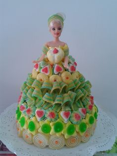7 best images about Ideas con chuches Candy Cakes, Cupcake Cakes, Barbie Birthday, Birthday Cake, Bar A Bonbon, Sweet Trees, Wedding Gift Wrapping, Barbie Cake, Engagement Decorations