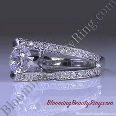 3 Sided Tension Set Split Shank Pave Diamond Engagement Ring Sideview 2