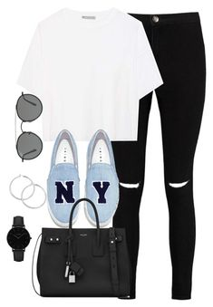 """""""Untitled #3197"""" by theaverageauburn ❤ liked on Polyvore featuring Boohoo, Vince, Joshua's, Yves Saint Laurent, Ray-Ban and CLUSE"""