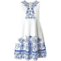 Studio 8 Philippa Dress (270 AUD) ❤ liked on Polyvore featuring dresses, white, women, embroidered dress, fit and flare cocktail dress, v neck cocktail dress, white fit and flare dress and special occasion dresses
