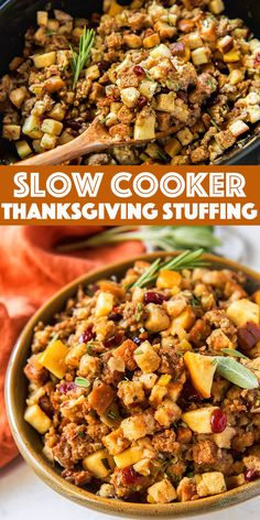 Slow Cooker Thanksgiving Stuffing Recipe - Packed with sausage, apples, cranberries and fresh herbs. Save space in the oven with this holiday favorite. Best Slow Cooker, Slow Cooker Recipes, Crockpot Recipes, Healthy Recipes, Traditional Thanksgiving Recipes, Stuffing Recipes For Thanksgiving, Holiday Foods, Holiday Recipes, Holiday Ideas