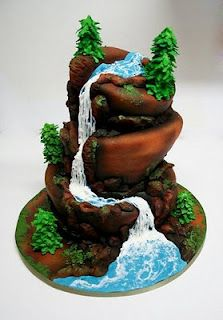 If I ever get married I want this cake!!! Mountain Waterfall Cake - The Sugar Cove