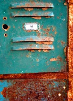Rusty turquoise vintage lockers with old number plate still on the door. Rust Never Sleeps, Rust In Peace, Green Cabinets, Orange And Turquoise, Aqua, Blue Orange, Peeling Paint, Photocollage, Rusty Metal