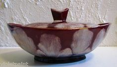 Mid-Century-JASBA-210-Burgundy-Red-CANDY-Bowl-W-WEST-GERMANY-Vintage-ART-POTTERY