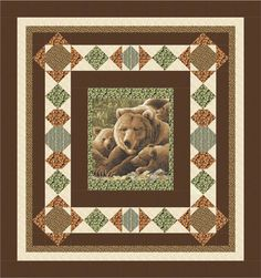 Visiting Northwoods Quilt Pattern (advanced beginner, lap and throw) Man Quilt, Boy Quilts, Fabric Panel Quilts, Fabric Panels, Wildlife Quilts, Star Quilt Patterns, Crochet Patterns, Quilt Border, Quilt Top