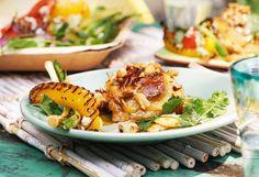 Cajun-Hühnerkeulen mit mariniertem Grillgemüse Pinapple Salad, Pasta Salad, Gluten Free, Ethnic Recipes, Food, Meat, Easy Meals, Food Food, Tutorials