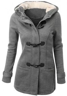 Grey Patchwork Buttons Double Breasted Slim Fashion Coat