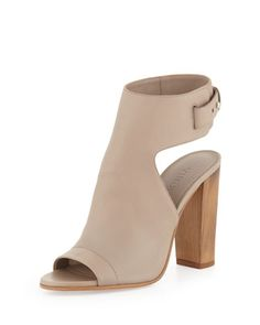 I love the heel -- the pronounced wood grain is gorgeous and compliments the pale, supple leather beautifully.  Just gorgeous. Addie Open-Toe Buckle-Back Bootie, Taupe by Vince at Neiman Marcus.