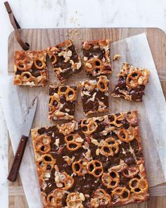 Salty and Sweet Desserts // Chocolaty Pretzel-and-Peanut Cookie Bars Recipe