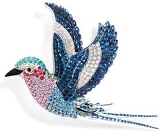 """Lilac Breasted Roller clip from Van Cleef & Arpels' """"Les Voyages Extraordinaires"""""""