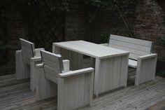 Sitzgruppe aus recyceltem Bauholz von purista auf DaWanda.com