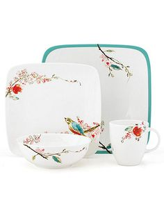 Lenox Simply Fine Dinnerware, Chirp Square 4 Piece Place Setting - Casual Dinnerware - Dining & Entertaining - Macy's