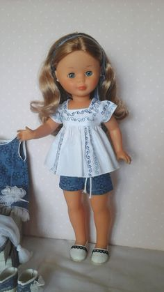 Outfit for Nancy American Doll Clothes, Girl Doll Clothes, Sewing Clothes, Girl Dolls, American Girl, Doll Shoe Patterns, Nancy Doll, Kool Kids, Wellie Wishers