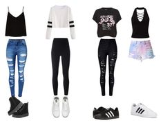 """4 outfits"" by gwboobear on Polyvore featuring WithChic, Raey, adidas Originals, Miss Selfridge, Vans and adidas"