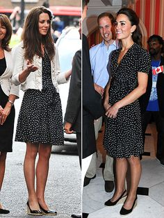 Kate is longtime Issa fan.  She sports the bird-print dress with a cropped jacket and patent wedges the night before her April 29 wedding, and then again with black tights and a similar pair of espadrilles while visiting Canada in June.