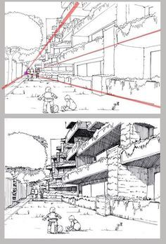 tutorial city in perspective 2 by ~lamorghana on deviantART...Love looking up. Something