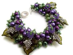 Purple Pearl Beaded Bracelet With Flowers Cluster by KIMMSMITH, $18.00