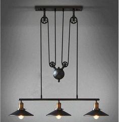 Retro Nostalgia Lifting Tackle 3 Adjustable Chandelier Creative Styles Available | Home & Garden, Lamps, Lighting & Ceiling Fans, Chandeliers & Ceiling Fixtures | eBay!
