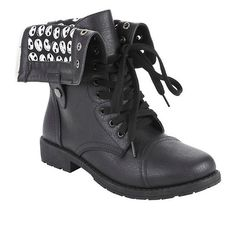 Hot Topic The Nightmare Before Christmas Jack Heads Combat Boots ($35) ❤ liked on Polyvore featuring shoes, boots, hot topic, military combat boots, combat booties, army combat boots, black boots and lace up combat boots