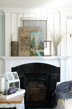 Love this layered fall mantel - the burlap art and the vintage landscape