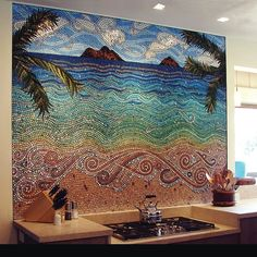 amazing kitchen mosaic wall.... I want this as a painting in my home. reminds me of home.