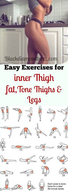 Best simple exercises to lose inner thighs fat and burn belly fat; tone thighs, legs and slimming waistline fast. It will not take more than 10 minutes for each workout every day and you are guaranteed of losing 10 pound in 7 days by eva.ritz