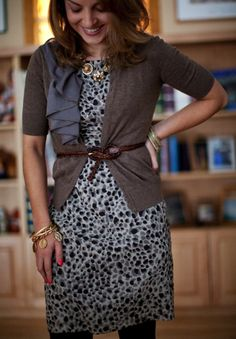 neutral print with a cute ruffled cardigan for an office appropriate look