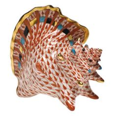 """Herend Hand Painted Porcelain Figurine """"Conch Shell"""" Rust Fishnet Gold Accents."""