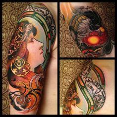 Tattoo after Alphonse Mucha by Jeff Gogue.