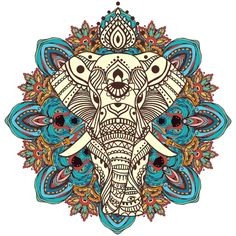 Greeting Beautiful card with Elephant. Perfect cards, or for any other kind of design, birthday and other holiday.Seamless hand drawn map with Elephant. Mandala Art, Design Mandala, Mandala Drawing, Mandala Tattoo, Elephant Tattoos, Elephant Art, Tatoo Art, Body Art Tattoos, Elefante Tattoo