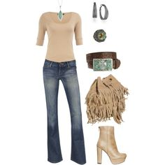 Shirt, jeans, necklace, and belt