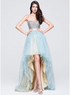 Corte A/Princesa Escote corazón Asimétrico Tul Vestido de baile de promoción con Volantes Bordado Lentejuelas
