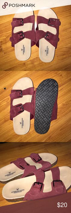 American eagle Birkenstocks Pretty maroon Birkenstocks, worn once or twice. Comfortable for wearing them indoors or out American Eagle Outfitters Shoes Flats & Loafers