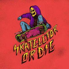 Skateletor or Die by Pedro Josue Carvajal Ramirez 80s Cartoon Shows, Band Posters, Retro Art, Graphic Design Illustration, Spirit Animal, Pop Culture, Pop Art, Horror, Comics