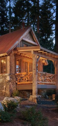 Ward-Young Seriously love the porch railing...perfect for a cabin in the Highlands!