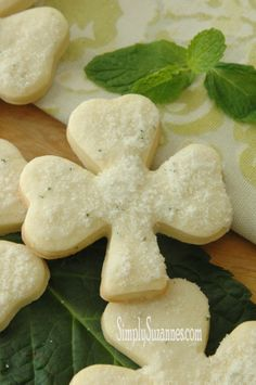these minted shamrock sugar cookies are a must try for st. patrick's day. recipe from simply suzanne's.