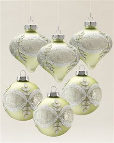 Each ornament from our Sparkle & Snowflake Set has a matte finish with beading, crystal, and glitter embellishments for the perfect sparkle.