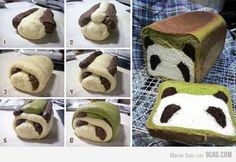 I don't know if this is cute or creepy- I really don't like the green on the bread and also how could you eat a panda??!!