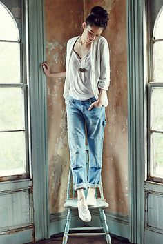 simple sewing idea for jeans ...inspiration .. patched boyfriend jeans from Anthropologie