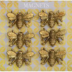 Creative Co-Op Pewter Bee Magnet - Set of Six Decorative Objects, Decorative Pillows, Tin House, Ceramic Rooster, Layout, Creative Co Op, Bee Theme, Bees Knees, Manualidades