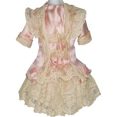 Pink Antique Silk Dress with Beige Silk Lace for Antique French or German Bebe Doll - Antique dolls and doll fashions at Ruby Lane www.rubylane.com @rubylanecom