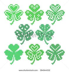 Set of embroidered leaves for greeting card Happy St. Cross Stitch Borders, Counted Cross Stitch Patterns, Cross Stitching, Loom Beading, Beading Patterns, Hamma Beads Ideas, Celtic Quilt, St Patricks Day Cards, Embroidered Leaves