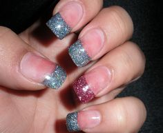 sparkle tips with an accent nail