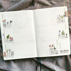 Bullet journal weekly layout, plant doodles, flower doodles, weekly task list. | @coco5005bujo