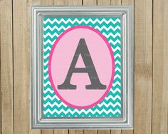 Any Colors, Trendy Turquoise Chevron with Pink and Gray Initial, Nursery Wall Decor, Bedroom, Playroom, Gift, Printable, Custom Digital File. Pink Poppy Design, via Etsy.