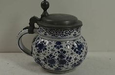 Small Delft tankard,dated pewter lid, partial signature,restored 1720